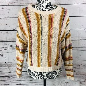 Billabong Striped Nubby Cropped Knit Sweater S